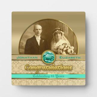 35th Emerald Wedding Anniversary Gem Damask Photo Photo Plaque