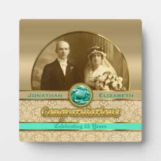 35th Emerald Wedding Anniversary Gem Damask Photo Plaque