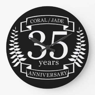 35th Wedding ANNIVERSARY JADE / CORAL Large Clock