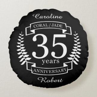 35th Wedding ANNIVERSARY JADE / CORAL Round Cushion