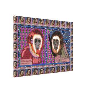 "36"" x 24"" Wrapped Canvas Monkey Animal wild"