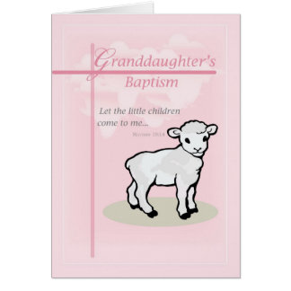 3874 Granddaughter Baptism Pink Lamb Card