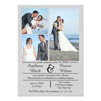 3/4 Photos Vertical Gray- Wedding Announcement