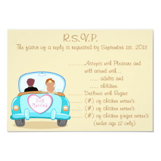 3.5 x 5 R.S.V.P Reply Card Just got Married Couple 9 Cm X 13 Cm Invitation Card