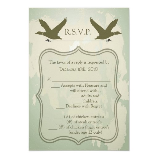 3.5x5 R.S.V.P. Card Country Duck Hunting Rustic