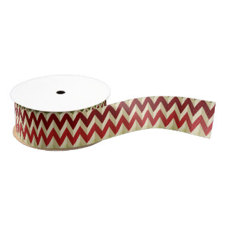 3-D Illusion Zig Zag in Red, Burgundy and Ivory Grosgrain Ribbon