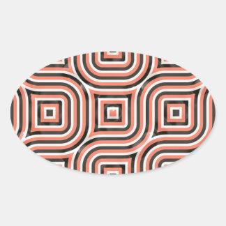 3-D pattern in orange and black Oval Sticker