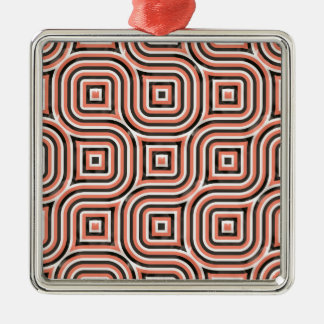 3-D pattern in orange and black Silver-Colored Square Decoration