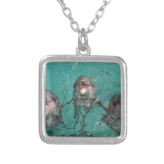 3 Dolphins Silver Plated Necklace