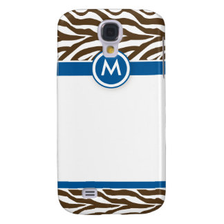 3 Funky Zebra Blue/Chocolate Galaxy S4 Case