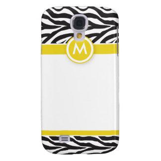 3 Funky Zebra Lemon/Black Galaxy S4 Case
