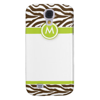 3 Funky Zebra Lime/Chocolate Galaxy S4 Case