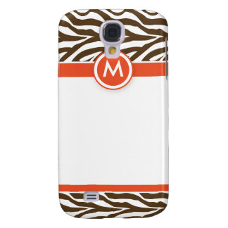 3 Funky Zebra Orange/Chocolate Galaxy S4 Case