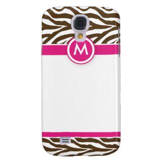 3 Funky Zebra Pink/Chocolate Galaxy S4 Case