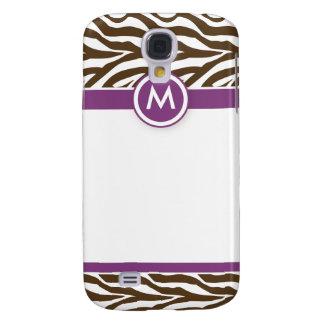 3 Funky Zebra Purple/Chocolate Galaxy S4 Case