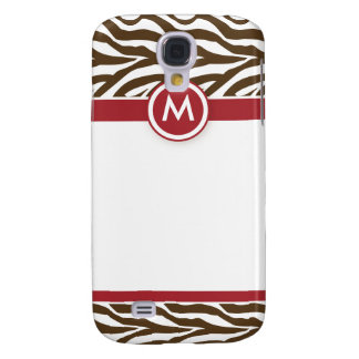 3 Funky Zebra Red/Chocolate Galaxy S4 Case