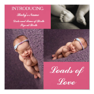 3-in-1 birth announcement card