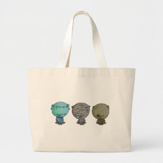 3 Little Monsters Large Tote Bag