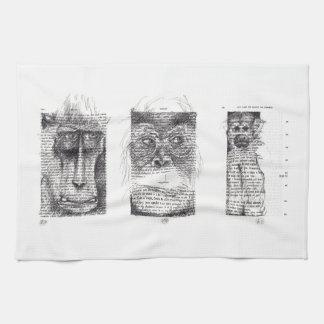 3 Monkeys for Monkey Year 2016 Kitchen Towel