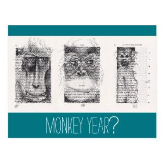 3 Monkeys Unconventional Chinese New Year Zodiac Postcard