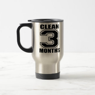 3 months clean black and crome travel mug