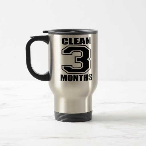 3 months clean black and crome travel mug