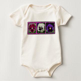 3 Pansies 01 Baby Bodysuit