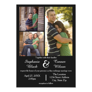 3 Photos Black - Wedding Invitation