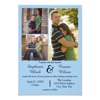 3 Photos Blue - 3x5 Wedding Invitation