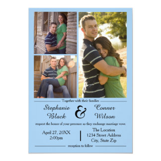 3 Photos Blue - Wedding Invitation