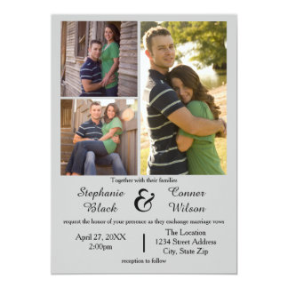 3 Photos Gray - Wedding Invitation