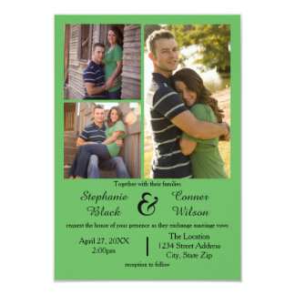 3 Photos Green - 3x5 Wedding Invitation