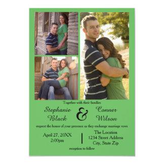 3 Photos Green - Wedding Invitation