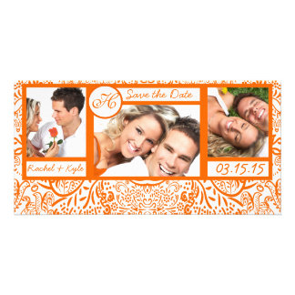 3 Photos Love Birds Orange Damask Save the Date Picture Card
