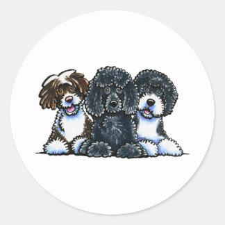 3 Portuguese Water Dogs Classic Round Sticker