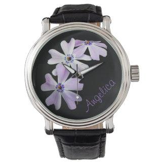 3 Purple Flowers Personalized Watch