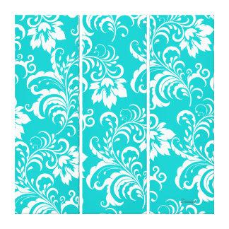 3 Set Canvas Teal Blue White Damask Floral