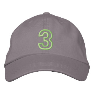 """3"" Small Athletic Number Embroidered Baseball Cap"