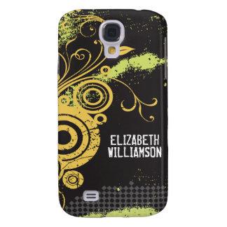 3 Velvet Grunge Flourish (yellow) Galaxy S4 Case