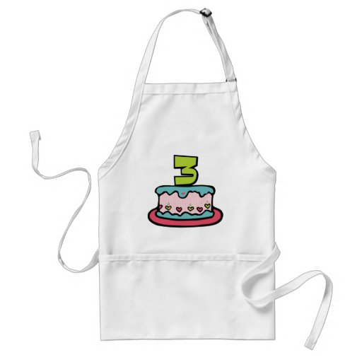 3 Year Old Birthday Cake Apron