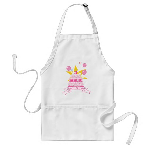 3 Year Old Birthday Cake Aprons