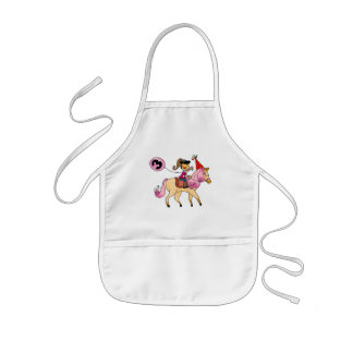 3 year old girl on a pony kids apron