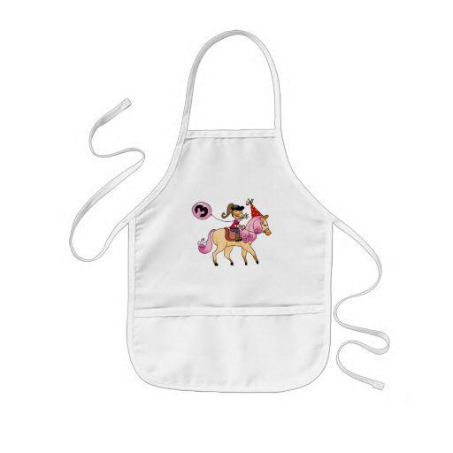 3 year old girl on a pony aprons