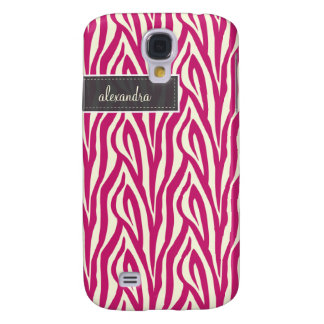 3 Zebra Pern (fuchsia) Galaxy S4 Case