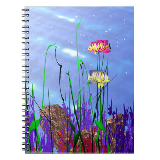 3D Colorful Angelfish Notebook