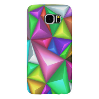3D Colorful Polygonal Background Samsung S6 Cases