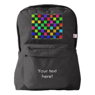 3d colorful squares pattern backpack
