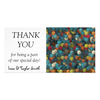 3D cubes abstract design Photo Greeting Card