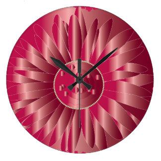 3D MAGENTA ELEGANT FLOWER OCCASION GIFT WALL CLOCK