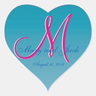 3d Monogram Blue Water Heart Sticker
